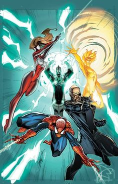 Spiderman, Spider-Girl, Nick Fury, Captain Mar-vell & The Human Torch.