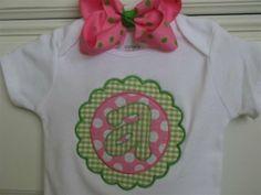 Preppy Girl Applique Flower Tee or Bodysuit - Short Sleeve or Tank Top - Custom Personalized Tee on Etsy, $22.00