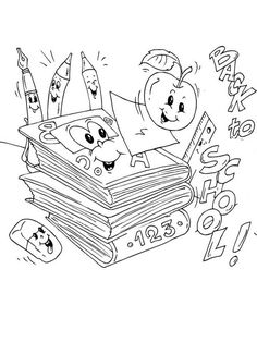 First Day of School, : All the School Sets is Very Happy for First Day of School Coloring Page School Coloring Pages, Online Coloring Pages, Toddler Learning Activities, Color Activities, Homer Simpson, School Sets, School Colors, Coloring For Kids, First Day Of School