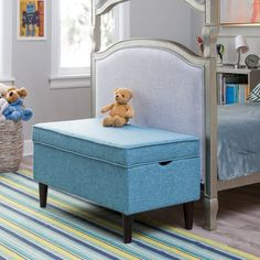 Classic Playtime Hannah Upholstered Storage Bench - Blue - RH160901-BLUE