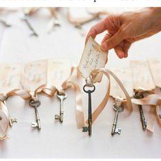 Cute Key Idea!! ~ we've got skeleton keys ~ contact us to create something sweet for your wedding ~ www.tinrooffarmhouse.com