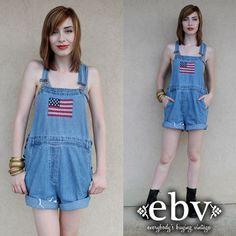 #Vintage #90s #American #Flag #Jean #Denim #Shorts #Overalls S M by #shopEBV http://etsy.me/13BpMiZ via @Etsy #etsy #usa #america, $78.00