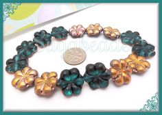 6 Green Pressed Czech Glass Flower Beads 16mm x 15mm by sugabeads