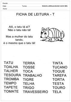 Ficha de Leitura Letra T - Tatu Portuguese Lessons, Professor, Homeschool, Education, Myla, Google, Image, Preschool Literacy Activities, Reading Activities