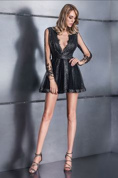 CRISTALLINI - The famous little black dress, reinvented with handmade… Anime Love Couple, Fall Winter, Sequins, Glamour, Skinny, Formal Dresses, Lace, Collection, Fall 2016