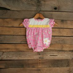 Vintage Little Girls Pink Yellow & White Gingham Floral