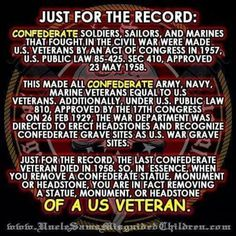 All Confederate soldiers are U.S. Veterans!  NO ONE is saying this, not even our non-fake media, and it's driving me crazy!