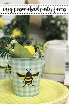 Make this sweet personalized party favors with the DIY from Everyday Party Magazine #Sponsored @Cricut @MarthaStewart #WhatWillItBee #BrideToBee #Spring #Gingham #WeddingFavor