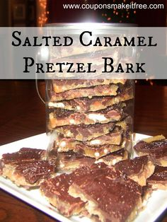 """Salted Caramel Pretzel Bark. One pinner says """"This stuff is amazing...I made it for a Christmas party and everyone wanted the recipe!""""."""