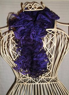 Hand Knit Lacy Ruffled Scarf  Dark and Light Purple  by Shelly6262, $29.95