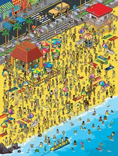 Illustrations Discover Isometric & Pixel Art Gallery - Varied Themes Pixel Art on Behance Where's Waldo Pictures, Pixel Life, Wheres Waldo, Isometric Art, Draw On Photos, Character Design Animation, Illustrations And Posters, Whimsical Art, Cartoon Art
