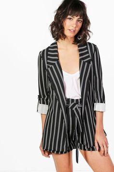f990f94a0466 Women s Striped Long Sleeve Soft Blazer - Xhilaration Black White ...