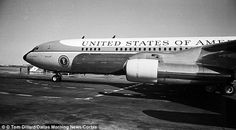 Air Force One arrives at Love Field in Dallas, Texas on November 22, 1963. The President was to ride in a motorcade following a winding 11 mile route through downtown Dallas where he was to speak at a luncheon with civic and business leaders at the Trade Mart. The presidential limousine, a midnight blue 1961 Lincoln, had been flown in from Washington D.C. The plastic bubble top was removed and the bullet-proof side windows were rolled down because the weather was so favorable.