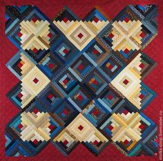 Handmade Traditional Log Cabin Patchwork by EtnikaPatchworkQuilt