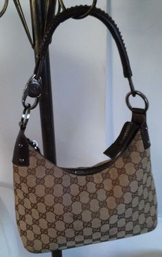 Authentic GUCCI Brown GG Canvas and Brown Leather Shoulder Bag  #Gucci #TotesShoppers