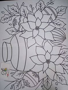 Flower Embroidery Designs, Simple Embroidery, Paper Embroidery, Embroidery Patterns, Colouring Pages, Adult Coloring Pages, Coloring Sheets, Coloring Books, Christmas Pictures To Color