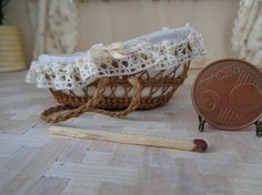 Dollhouse, Miniature Wicker baby cradle,scale 1:12,moses basket
