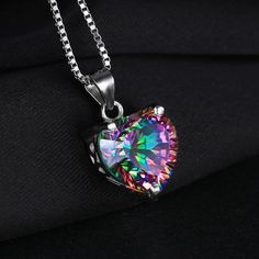 4.35ct Genuine Rainbow Fire Mystic Topaz Heart Pendant / NO chain. (FREE SHIPPING)