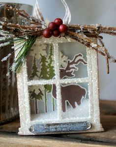 Sizzix die cutting inspiration woodland window box ornament by hilary kanwischer Christmas Shadow Boxes, Christmas Card Crafts, Diy Christmas Ornaments, Christmas Projects, Holiday Crafts, Christmas Decorations, Christmas Scenes, All Things Christmas, Christmas Holidays