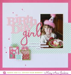 Third Birthday by Mary Ann Jenkins for Queen & Co using the June Pretty Presents kit - maryannjenkin Birthday Scrapbook Layouts, Scrapbook Designs, Scrapbook Sketches, Scrapbook Page Layouts, Baby Scrapbook, Scrapbook Paper Crafts, Scrapbook Albums, Scrapbook Cards, Scrapbooking Ideas