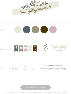 Brand board for Beautifully Disheveled, created by The Savvy Socialista