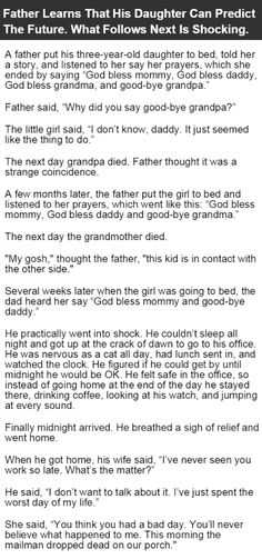 Father Learns His Daughter Can Predict The Future What Happens Next Is Shocking funny jokes story lol funny quote funny quotes funny sayings joke hilarious humor stories funny jokes