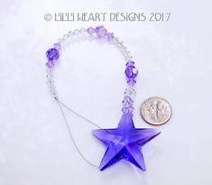 0f3669848 m/w Swarovski Crystal Blue Violet PURPLE RARE VINTAGE Logo Etched Strass  40mm Star Suncatcher