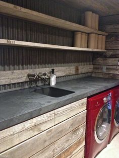 indrustial design works well in laundry rooms - Shelterness