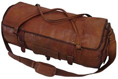 Leather Duffel Gym Genuine Vintage Brown Leather Goat hide 24 Travel Luggage -- You can get additional details at the image link.