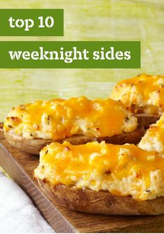 Top 10 Weeknight Sides When you need easy recipes for busy nights, try our best weeknight sides! After preparing your favorite pasta recipe, round out the meal with one of our vegetable side dish recipes. I Love Food, Good Food, Yummy Food, Tasty, Baked Potato Recipes, Baked Potatoes, Kraft Recipes, Easy Recipes, Freezer Recipes