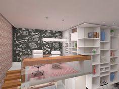 WEBSTA @ gfprojeto - Mezanino escritorio - Por GF Projetos - #designdeinteriores #design #reforma #arquitetura #projeto #3d #perspectiva #interiores #escritorio #mezanino