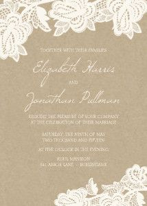 A soft and romantic choice, the Rustic Lace invitation features a subtle backdrop with delicate boughs of flowering lace artwork.