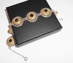 Nostalgisches Armband  Silberarmband mit Onyx von Schmuckbaron