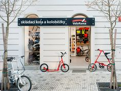 outside view of my folding bike and footbike shop in Prague