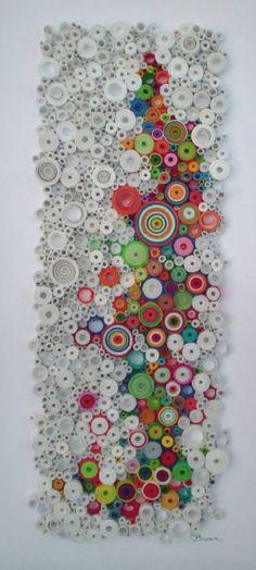 """Modern wall art, Circular wall art, Original 3-Dimensional paper fine art, rolled paper art, """"Daydream"""" - Laurie Brown"""