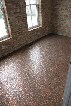 Penny Floor. DIY. Affordable floor. Copper bathroom, copper floor, cheap flooring