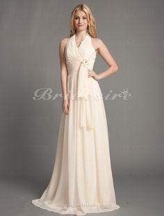 A-line Floor-length Halter Elegant Chiffon Bridesmaid Dress - $127.99