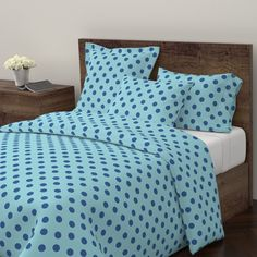 Wyandotte Duvet Cover featuring polka dots Large - turquoise  ocean by drapestudio | Roostery Home Decor