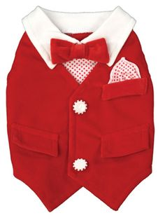 Dogs in style with Red Velvet Vest and Red Bow Tie. Need i say more? $45.99 at 4-legged pet boutique