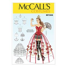 McCalls Sewing Pattern 7306 Cosplay Corsets, Shorts, Collars, Hoop Skirts and Crown. McCalls Sewing Pattern 7373 Fit and Flare or Godet Coats with Stand-Up Collar. With Nap Without Nap With or Without Nap. Queen Of Hearts Costume, Boned Corsets, Hoop Skirt, Corset Pattern, Costume Patterns, Mccalls Sewing Patterns, Blouse And Skirt, Lining Fabric, Neue Trends