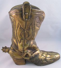 Rare Price Products Cowboy Boot Vase Brass