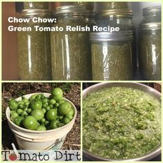 Chow Chow: Green Tomato Relish Recipe with Tomato Dirt health fitness; Green Tomato Relish, Pickled Green Tomatoes, Tomato Jam, Stewed Tomatoes, Stewed Tomato Recipes, Green Tomato Recipes, Veggie Recipes, Relish Recipes, Canning Recipes