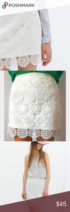 ZARA crochet skirt White with beautiful crochet detailing. Zara Skirts Mini