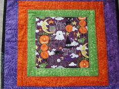 Quilted Halloween Purple Orange Green Table Topper Runner