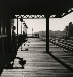 Larry Silver – Bronx, Subway Station, 1950.  Vintage NYC b&w photo.