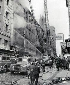 Incendio en los almacenes Arias de la calle de la Montera. Madrid, 1964