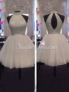 Simple-dress Luxurious Beaded High-neck Short 2015 Tulle Homecoming Dresses/Party Dresses TUHD-70815