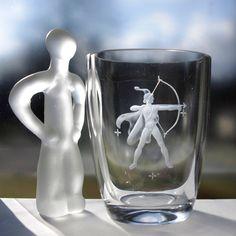 Målerås Glassworks, Sweden Crystal Vase, Engraved Semi Nude Roman Archer, 1950s, Signed Folke Walving