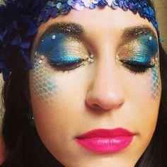 Blue and gold mermaid rave makeup. #ravemakeup #edcmakeup #mermaidmakeup