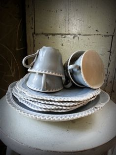 Harker Pottery Chesterton Grey Five Piece Set With by shabbychatue, $45.00